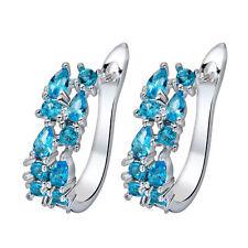 925 Silver Filled Round Shape Light Blue Stud Ear Decor Earrings Chic Jewelry US