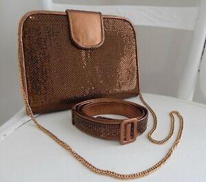 Vintage WHITING & DAVIS Bronze Gold Mesh Leather Shoulder BAG Clutch & BELT