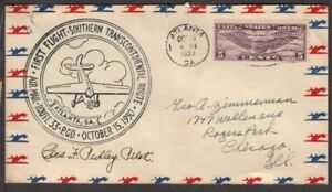 1930 First Flight CAM-33 Atlanta GA, pilot Charles F. Pedley signed