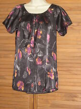 Metro 7 Bubble Short Sleeve Pull Over Black Floral Blouse Top Size S (4-6) #CL81