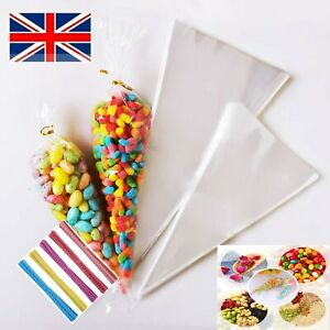 Plastic Cone Bags Clear Cellophane Sweet Cones Party Wedding Candy Popcorn Gift