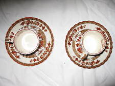 2 Spode Indian Tree Demitasse Cups and Saucers in Orange Rust