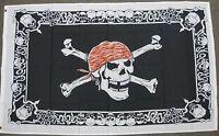 SKULL WITH SKULL BORDER PIRATE FLAG 3X5 FEET BIKER CROSSBONES 3'X5'  NEW F1019