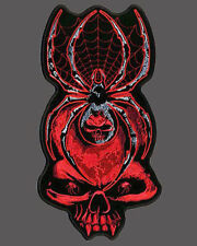 SKULL SPIDER WEB BIKER PATCH 5 INCH JACKET VEST PATCH