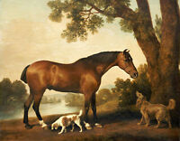 """Art large Oil painting Hunter and Spaniels Horse Dog in landscape on canvas 36"""""""