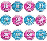 18 inch Foil Birthday Balloon 16th 18th 21st 30th 40th 50th 60th Pink or Blue