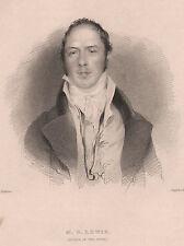 1834 Georgiano stampa ~ M. G. Lewis ~ AUTORE DEL MONACO
