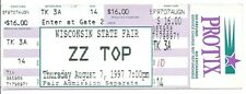 "Zz Top Original 1997 ""Wisconsin State Fair"" Unused Concert Ticket"