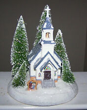 Christmas Church & Manger Figurine - 3 Evergreens Lights Up - Great Condition!