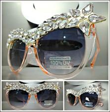 cc7f34ed9a1e Oversized Classy Retro Cat Eye Style SUN GLASSES Pink Frame Sparkling  Crystals