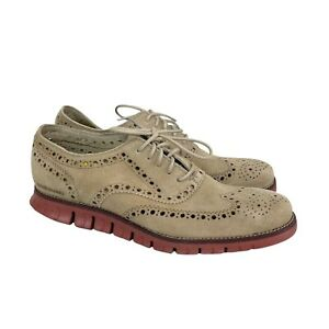 Cole Haan Zerogrand Tan Suede Wingtip Oxford Lace Up Shoes Mens size 10.5