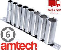 "Deep SOCKET SET 10-19mm 3/8"" drive 6 Point Hex Long Reach SOCKETS 8pc UK"