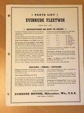 1950 Evinrude Fleetwin 4434-4435 Outboard Motor Parts Catalog Manual