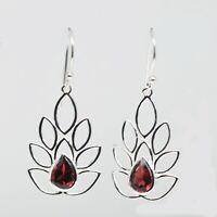 925 Sterling Silver Garnet Gemstone Earrings 2.18 gms Earring Jewelry CCI