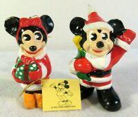 Vtg Walt Disney Prod Christmas Ornaments Mickey & Minnie Mouse Ceramic Taiwan