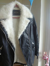 RIVER ISLAND FAUX FUR AND FAUX LEAHER AVIATOR WINTER COAT SIZE 6