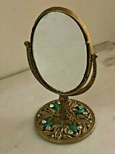 Art Nouveau Tilting Bronze Vanity Table Mirror with Rhinestone and Emerald color