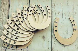 Pack of 10 large heart horseshoes wood unpainted DIY wedding crafting