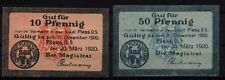 [16575]  - 2 x Notgeld PLESS OS (heute: Pszczyna), Stadt, 10 + 50 Pf, 20.03.1920