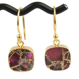 New Arrival Mojave Copper Turquoise Gold Plated Cushion Shape For Women Earrings