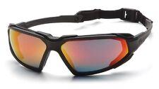 Pyramex Highlander Safety Glasses with Black Frame Anti-Fog Sky Red Mirror Lens