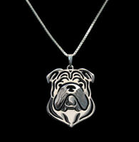 English Bulldog Silver Charm Pendant Necklace, Dog Lover, Friend Gift