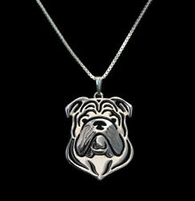 English Bulldog Silver Charm Pendant Necklace, Dog Lover, Friend Gift
