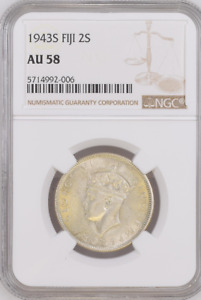 1943S Fiji 2 s NGC AU 58 Witter Coin