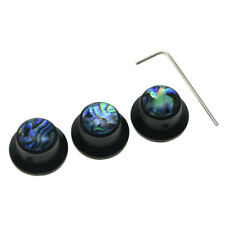 KAISH Set Screw Abalone Top Black Guitar Bass Knobs Metal Knob for 6mm Shaft Pot