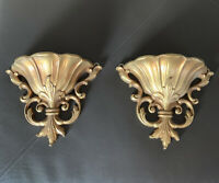 Vintage Set Of 2 Ornate Gold Plastic Wall Sconce Planter Victorian Scroll Syroco