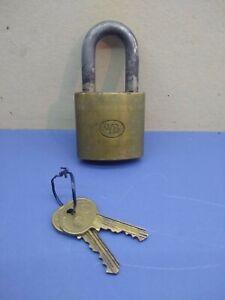Vintage WB Wilson Bohannan Brass Padlock With 2 Keys