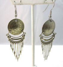 Coin Mexican Dangle Earrings * Handmade 1977 Central Reserva Cinco Medallion