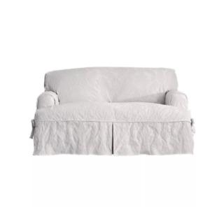 Sure Fit Matelasse Damask T Cushion Loveseat slipcover  WHITE
