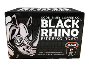 Black Rhino Espresso Coffee, Single Serve Cups for Keurig K-Cup Brewers, 12 Pack