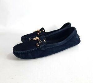 Tory Burch 9 M Women's Daria Driver Suede Navy Blue Loafers Flats