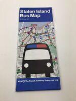 Vintage 1993 Staten Island Bus Map Metropolitan New York City Transit Authority