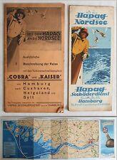 """2 Prospekte """"Mit der Hapag an die Nordsee"""" - Reisebeschreibung + Karte um1930 xz"""