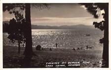 RPPC ZEPHYR COVE Nevada Evening Scene LAKE TAHOE 1934 Vintage Frashers Postcard