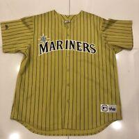 RARE Vintage Seattle Mariners MLB Majestic Alternate Mustard Pinstripe Jersey XL