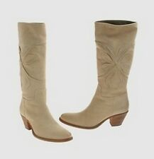 MOMA Made in Italy handmade leather suede boots stivali donna pelle beige 38 NIB