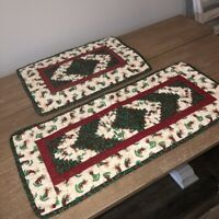 Handmade Christmas Patchwork Quilted Table Runner & Placemat Angels Holly Set 2