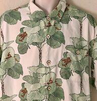 Tommy Bahama Silk Hawaiian Camp Shirt Mens XXL SS I'm a Big Fan Tortola Palm