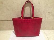 AUTHENTIC DONNA ELISSA VINTAGE 80'S RED CROCODILE EXOTIC SKIN LEATHER TOTE BAG