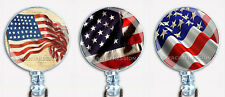 Badge Reel Retractable ID Name Card Holder Patriotic American Flags USA
