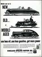 1948 Sinclair Opaline Oil streamlined car old new gas vintage art print ad L19