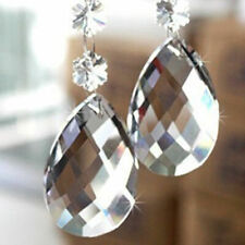 10Pcs Clear Teardrop Crystal Glass Beads Chandelier Ornaments Hanging Home Decor