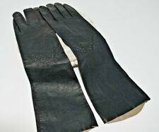 New listing Vintage Made in France Kid Leather Black Gloves, Cutout Design, Size 7 1/2