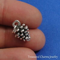.925 Sterling Silver PINE CONE CHARM Pinecone Nature Fall Autumn PENDANT