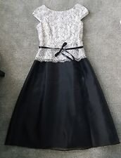 Alex Evenings Women's Black White Illusion Lace Belted  Cap Sleeve Dress 12