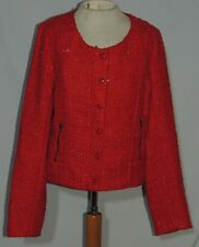 Romeo & Juliet Couture Sparkling Red Boucle Jacket NWT sz MED $279.00